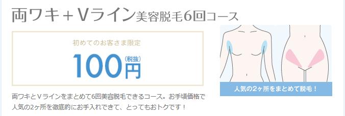 ミュゼ 「両ワキ+Vライン」100円